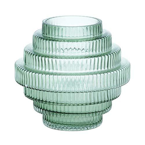 Nordal Vase Rill H 16 cm Rillenmuster Grün Handarbeit Glas