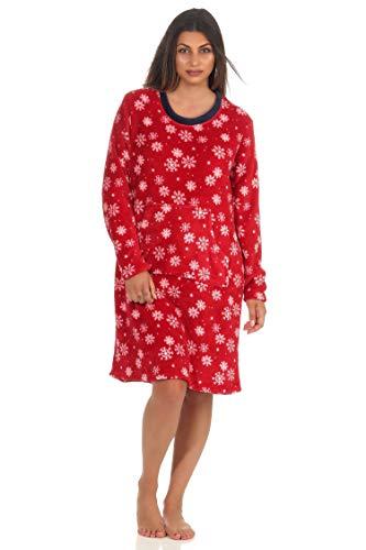 NORMANN Wasmachine, knuffelzacht dames, nachthemd, lange mouwen, huisjurk van coralfleece in winterse design