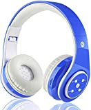 Kids Wireless Bluetooth Headphone with Microphone volume limited foldable Earphone Children Stereo On Ear headset for PC/TV/Tablets/Smartphones (Blue)