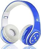 Kabellose Bluetooth Kopfhörer für Kinder Jugendliche ab 5 Kabelloser Kopfhörer Over Ear mit Lautstärkebegrenzung inkl. Radio on Ear drahtloser Faltbarer Kopfhörer mit Mikrofon HiFi Stereo (Blau) -