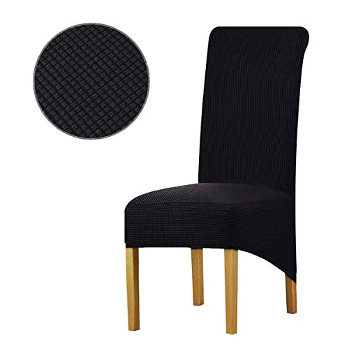 KELUINA Fundas para sillas de Comedor elásticas Spandex,Silla Jacquard Funda Protectora Corta Lavable extraíble para el Hotel y la Boda en el Bar de la Cocina (Negro,XL Large(6 Pack))