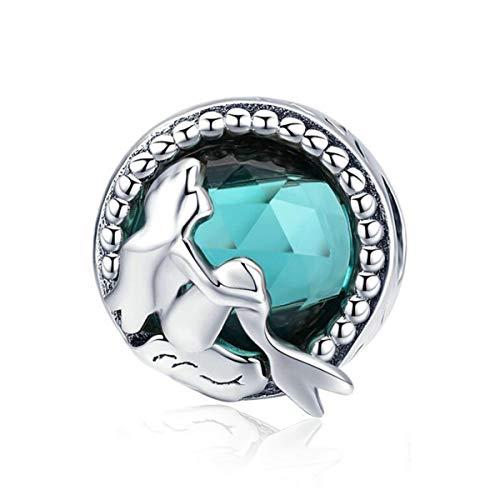 Eternalll Jewellery Ocean Mermaid Charm Original 925 Sterling Silver Charms Bead Rose Gold Starfish Charms for Bracelets (Mermaid Charms)