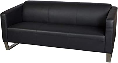 Mahmayi Casual Three Seater Leather Sofa, Black, KD2850THREESEATER