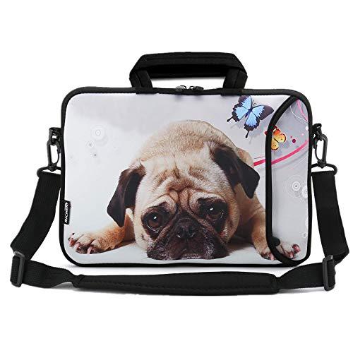 RICHEN Laptop/Chromebook/Ultrabook/Notebook PC Messenger Bag Tablet Travel Case Neopren Griff Sleeve mit Schultergurt (27,9–33,8 cm, süßer Mops)