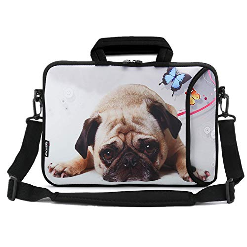 RICHEN 14 15 15.4 15.6 inch Laptop shoulder bag Messenger Bag Case Notebook Handle Sleeve Neoprene Soft Carring Tablet Travel Case with Accessories pocket (14-15.6 inch, Cute Pug)