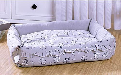 Yuhualiyi123 Macrame Pet Nest Four Seasons Universal Pet Bed Washable Dog Bed Cushion Square Cat Dog Mattress Non-slip Comfort Bed (Color : Orange, Size : L)