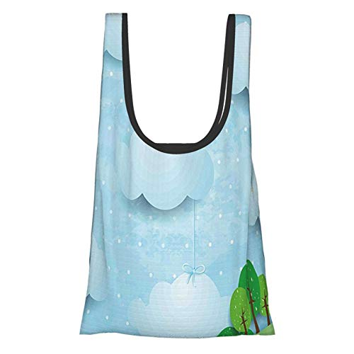 Kids Decor Boys Girls Nursery Decor With Balloons Clouds Stars On The Hillls Cartoon Multicolor Reusable Fold Eco-Friendly Shopping Bags