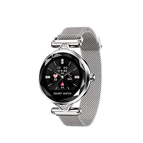 MEISHENG Smart Watch H1 Women Waterproof Bluetooth Heart Rate Monitor Fitness Tracker Lady Fashion Smartwatch Bracelet,Silver