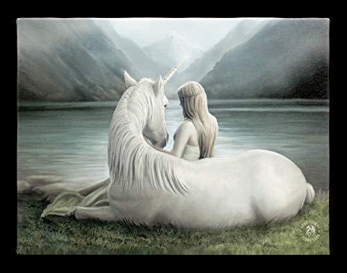 Fantasy-Bild Elfe mit Einhorn auf Leinwand gedruckt - Beyond Words | Wandbild, Motiv von Anne Stokes, 25x19 cm