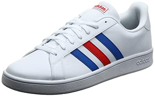 Adidas Grand Court Base, Scarpe da Tennis, Uomo, Bianco (ftwr white/blue/active red), 42 2/3 EU