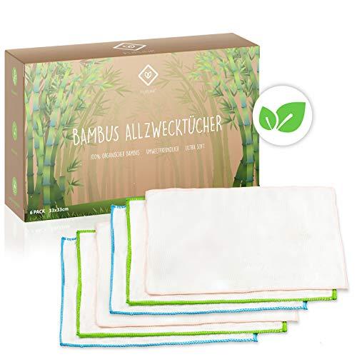 FLIPLINE Bambus Tücher 6er Set aus 100% Bambusfaser [33x33cm] für Küche Haushalt Fenster - nachhaltige Bambustücher Putztücher Allzwecktücher