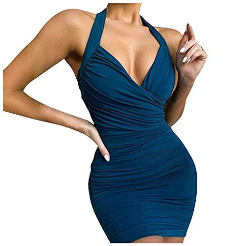 VEMOW Vestido Mujer Bodycon sin Mangas Color Sólido de Noche Cóctel Midi Club Básico Vestido Strappy, Ajustado Vestido de Honda Falda de Cadera Mini Bolso Mostrar Cintura Delgada Sexy(D Azul,L)