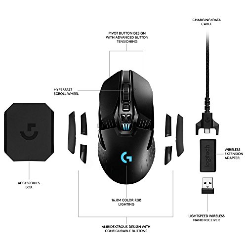 Logitech G903 - Ratón inalámbrico para Gaming con Sistema de Carga inalámbrica POWERPLAY Compatible con Lightspeed - Paquete EU