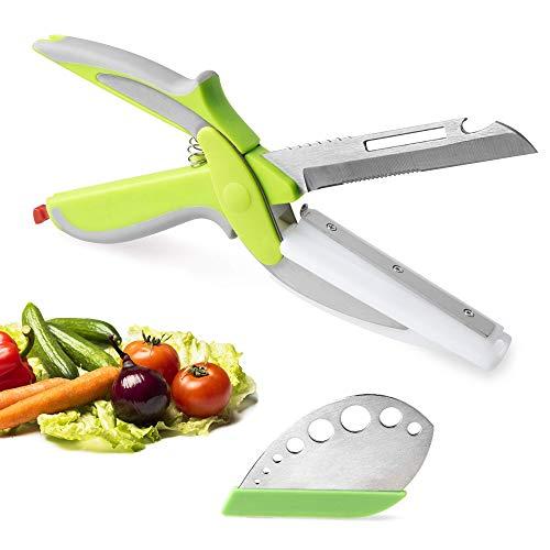 Duyifan Clever Cutter Kitchen Scissors, Smart Cutter 6 in 1 Knife & Cutting Board, Bottle Opener, Peeler, Multi-Function Vegetable Slicer, for Cutting as Food Shears, Vegetable Slicer, Fruit Cutter