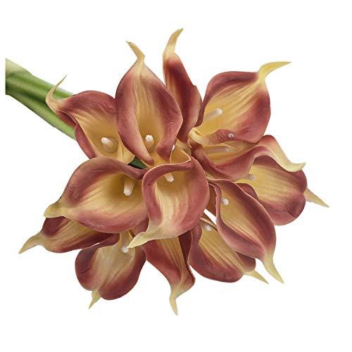 10 flores artificiales de tulipanes artificiales con toque de anturio, flores de primavera, ramo artificial para bodas, arreglos florales, centros de mesa de centro de mesa para el hogar o la madre