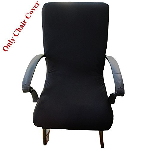 Loghot Computer Office Spandex Fabric Stretch Rotating Chair Covers Washable Durable Chair Cover (High Back, Black)