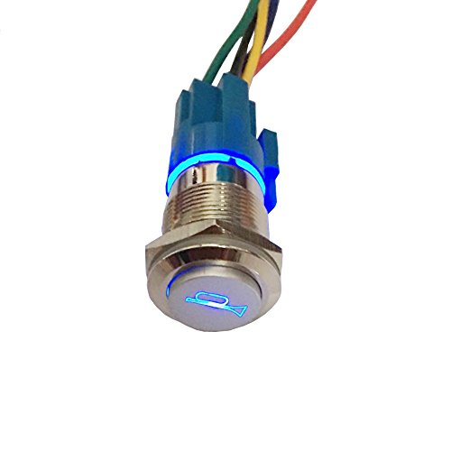 ESUPPORT 12V Car Auto Blue LED Light Momentary Speaker Horn Push Button Metal Toggle Switch 19mm Socket Plug