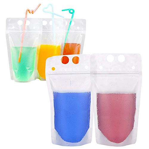 50pcs Drink Pouches Drink Container Set -Juice bag water wine bottle freezer bag Reclosable Zipper Pouches Bags Drinking Bags with Colorful Straws(Transparent)