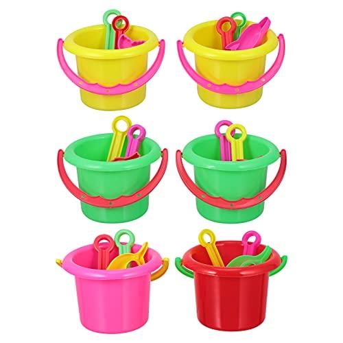 Tomaibaby 24 Piezas Mini Cubo de Playa Y Pala Juego de Caja de Arena Juego Mini Cubo de Arena Rastrillo de Pala para Cumpleaños Playa Sirena Tema Fiesta Favor