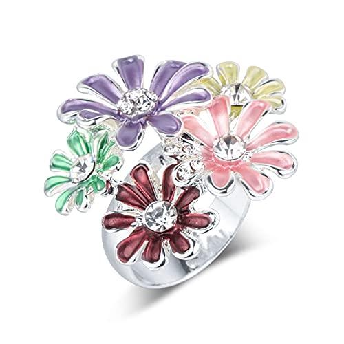 EzzySo Anillo de Flores pequeñas Multicolores, Personalidad Europea y Estadounidense Personalidad Creativa Apertura Creativa Joyería de Anillo de aleación Femenina (2 PCS),One Size (Adjustable)