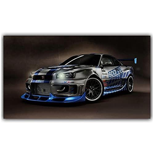 Super Car Poster Rally Sport Car Lienzo Pinturas Obra de arte Imágenes de automóviles Arte de la pared para la sala de estar Decoración del hogar -50x90cm Sin marco