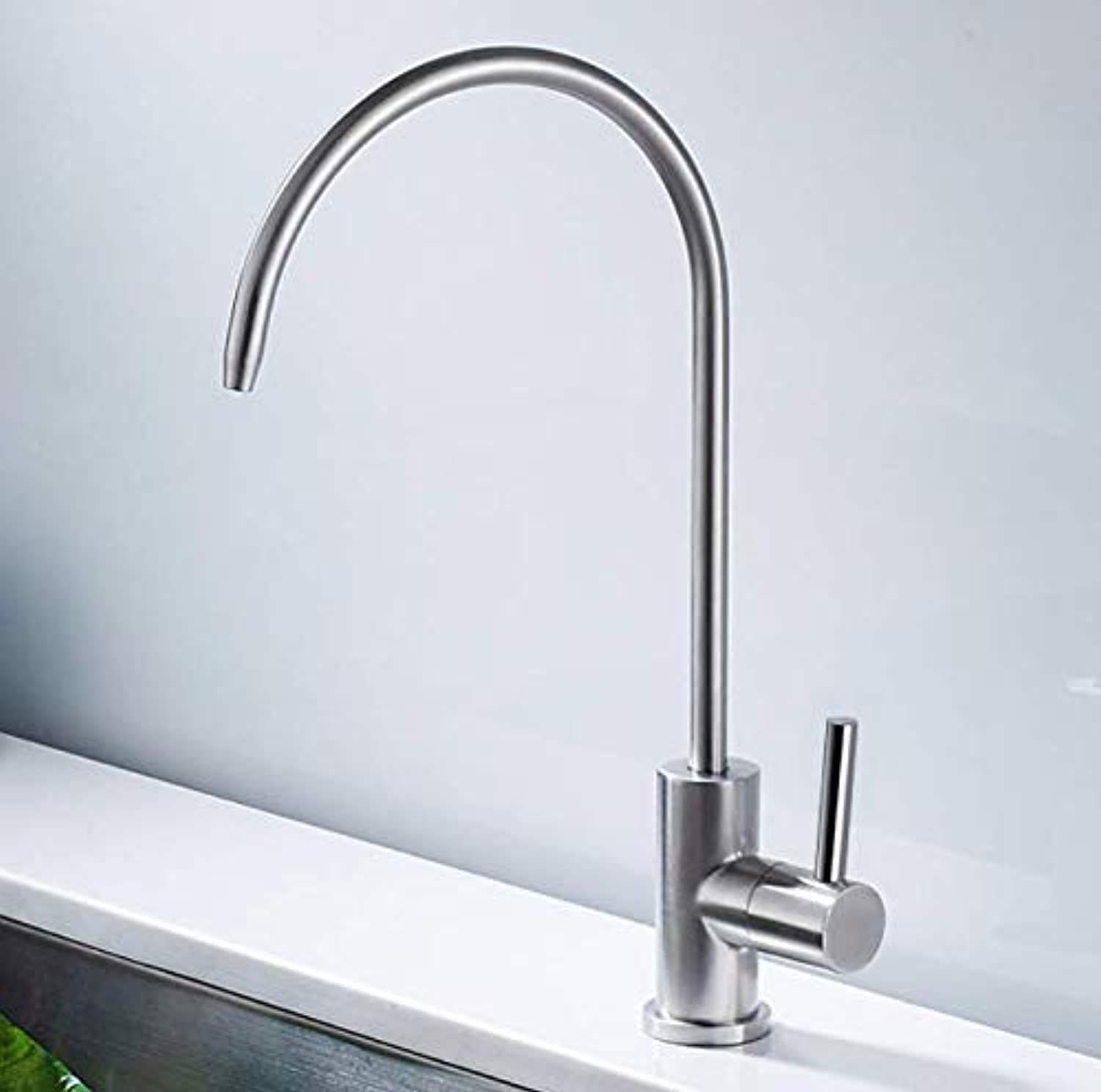 Bathroom Faucet 304 Stainless Steel Kitchen Water Purifier Straight Drinking Faucet Single Cold Water Wash Bowl Dish Pool Sink Pure Faucet