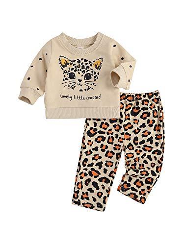 Geagodelia Completo per Neonata Bambina 2PC Felpa a Maniche Lunghe Cartoon Gatto + Pantaloni Leopardo Tuta Femminile 0-3 Anni Autunnale e Invernale Casual (Beige, 0-6 Mesi)