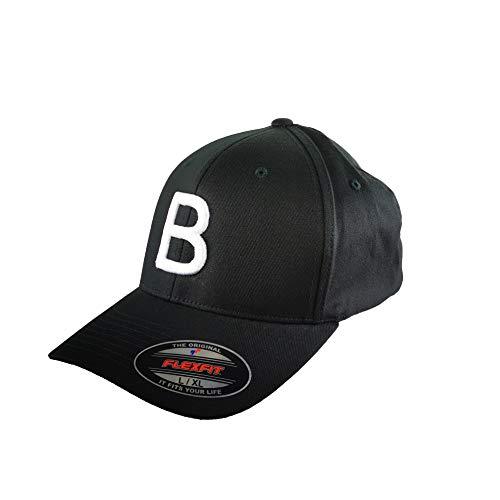 GIDUTEX Flexfit Original Schwarze Basecap Baseball Cap Wooly Combed Mütze inkl. Initial Buchstaben in 3D Stick weiß (L/XL, B)