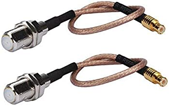 DHT Electronics 2PCS RF coaxial Coax Cable Assembly MCX Male to F Female 6''