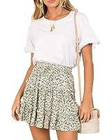 Daxvens Women's Ruffle Mini Skirt Floral Printed A-line Elastic High Waist Swing Skirt Green Floral M