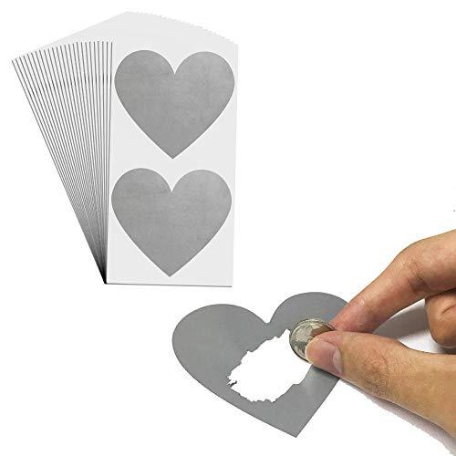 50 Stück, 75mm Herz Rubbel Etiketten Rubbellose Aufkleber, Scratch Sticker - Grau