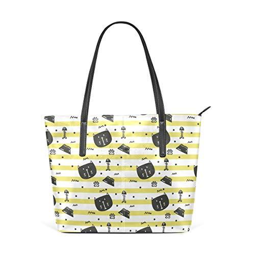 FANTAZIO Handtasche Schultertasche Katze und Futter Muster Schultertasche Handtasche