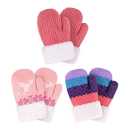 Image of Arctic Paw Girl's Outdoor Sherpa Lined Winter Mitten Gloves, Pink/Rose/Stripe