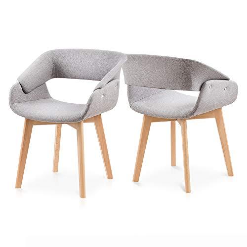 Juego de 2 sillas de comedor con reposabrazos, tapizadas de terciopelo, color gris