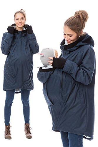 GoFuture Damen Tragejacke für Mama und Baby 4in1 Känguru aus Concordia Shell und Polarfleece Shelter GF2068XB in Marine mit hellgrau und schwarzen Bündchen
