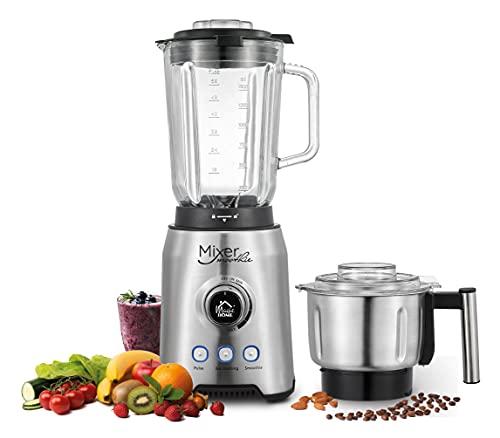 Smoothie Maker Glas 1000W Premium 2-in-1 Hochleistungsmixer Glasbehälter 1,75L, Edelstahlschale 1L, Stand Mixer - Obst/Gemüse/Eis/Nüsse/Kaffeebohnen, 4 Jahre Garantie, Pulz/Smoothie/Eiscrusher MODUS