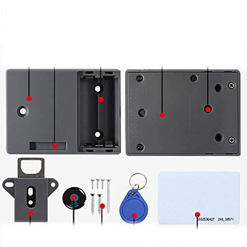 Kabinetslot, RFID-kaart verborgen ladekast Lock Keyless DIY zonder geperforeerd gat, eenvoudig te installeren 3blacksingledoor