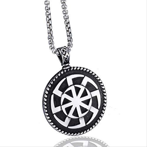 huangshuhua Amuleto de Nudo de Escudo de Acero Inoxidable Paga Rueda Solar Collar con Colgante de joyería nórdica