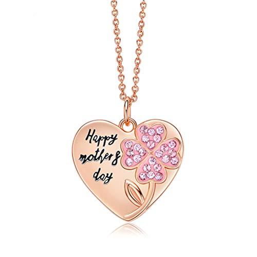 6P6 Regalo De Cumpleaños De La Madre Colgante del Corazón del Día De La Madre De Regalo De Las Mujeres con El Collar del Amor De Cristal,Rosado