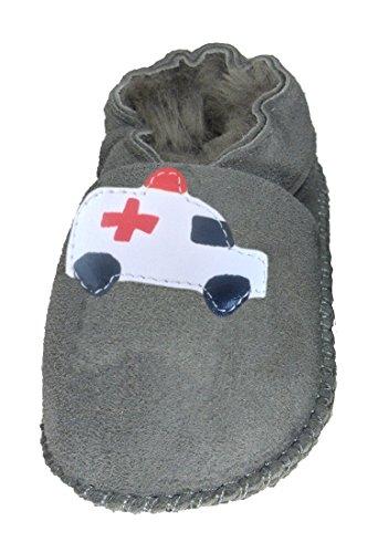 Plateau Tibet - Chaussons Chaussures bébé en Cuir Souple avec Doublure en VERITABLE Laine d'agneau Bottines garçon Fille Enfant - Ambulance - Gris, 26/27