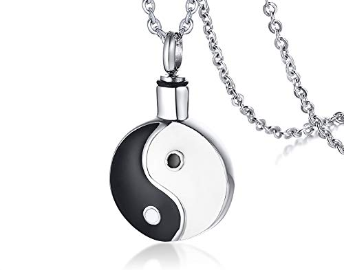 VNOX Acero Inoxidable de Dos Tonos Yin Yang Bagua Talismán Protector Hueso Ceniza de Perfume Urna Collar Colgante Abrible Joyas para Mujeres Hombres