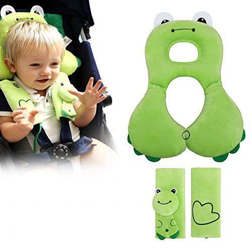Inchant Baby-Kopfstütze Kleinkinder-Kopf-Hals-Unterstützung für Autositz, Kinderwagen, Kinderwagen mit Baby-Auto-Sicherheitsgurt-Abdeckung Kleinkind-Spaziergänger-Bügeln-Cover, Green Frog