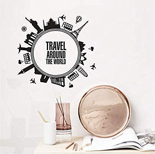 Reisen Sie Um Die Welt Wandsticker Städtereisen Schlafzimmer Dekoration Vinyl Aufkleber Persönlichkeit Vinyltapete Kunstabziehbilder 57X53cm