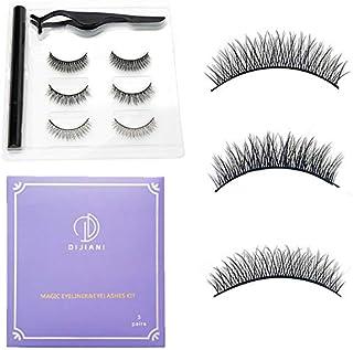 Wimper- en eyeliner-set, 3 paar valse wimpers en waterdichte eyeliner, zelfklevende simulatie van natuurlijke valse wimper...