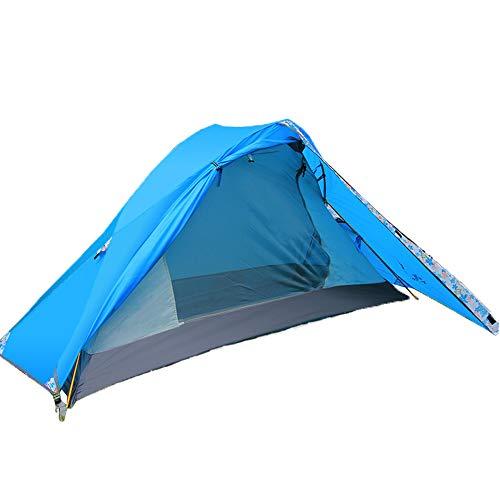 YANKK Camping Tente 1 et 2 Personnes Ultra Légère Facile à Installer Tentes Dôme Tente de Tente Extérieure Ultra-légère Pliante Tente D'été pour Randonnée, Pêche,Bleu
