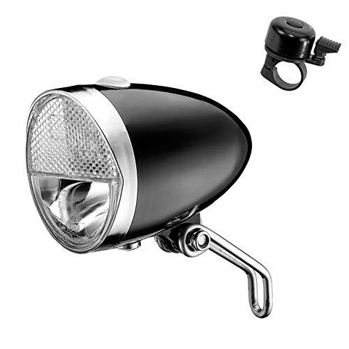 maxxi4you Angebot-Set / 1 x Union Marwi LED Fahrrad Scheinwerfer UN-4980 Classico Fahrradbeleuchtung 30 Lux inkl. 1 Fahrradglocke