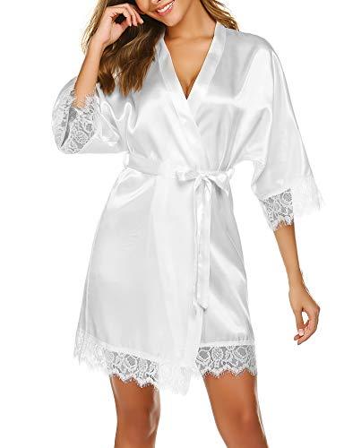 Damen Morgenmantel Bademantel Kurz Kimono Sexy Satin Robe mit Gürtel V-Ausschnitt Nachtwäsche Mit Spitze Nachthemd Schlafanzug Sleepwear