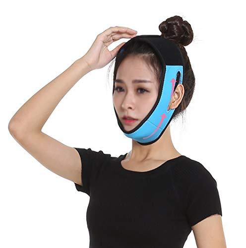 TLMY Masque de ceinture amincissant Masque de massage facial pour artefacts en V Renforce la contraction des muscles du menton et façonne facilement le bandage serré bleu en V-face Masque modelant pou
