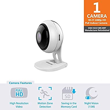 Samsung Wisenet SNH-V6431BN SmartCam 1080p Full HD PoE Wi-Fi Indoor IP Camera (Certified Refurbished)