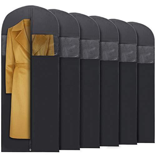 Plixio 60' Black Garment Bags for Breathable Storage of Dresses & Dance Costumes, Suits-Includes Zipper & Transparent Window (6)